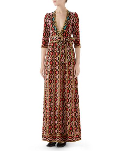 Jardin en Hiver Metallic Jacquard Maxi Dress
