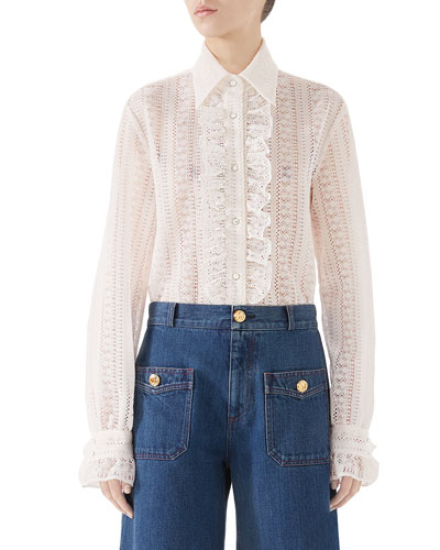 Striped Lace Long-Sleeve Shirt