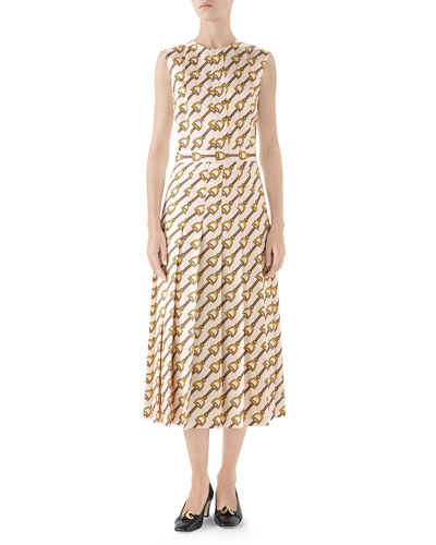 Stirrups Print Silk Dress