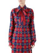 Gucci Rhombus Print Bowed Silk Top