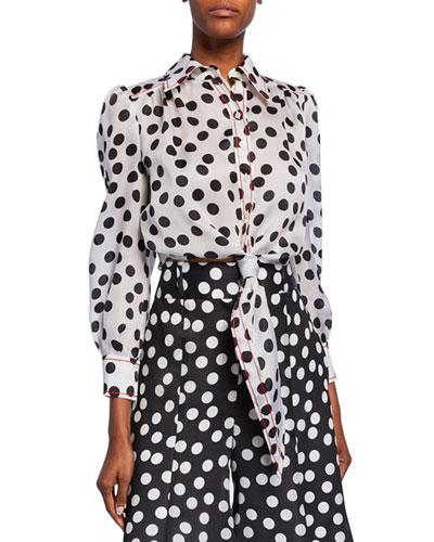 Polka-Dot Long-Sleeve Cropped Shirt