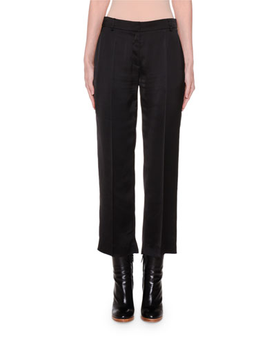 Cropped Slim-Leg Satin Pants