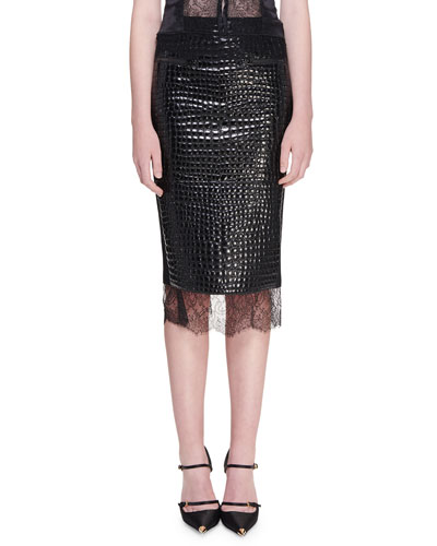 Crocodile Embossed Chantilly Lace Trim Skirt