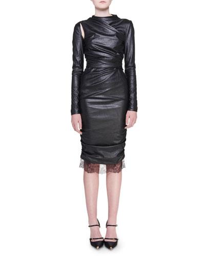 Ruched Long-Sleeve Cold-Shoulder Sheath Dress
