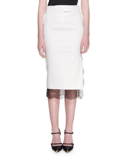 Light Mikado Lace-Hem Trouser Skirt