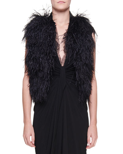 Ostrich Feather Organza Vest