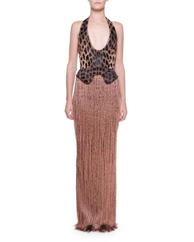 Halter-Neck Leopard-Print Fringe Hem Gown