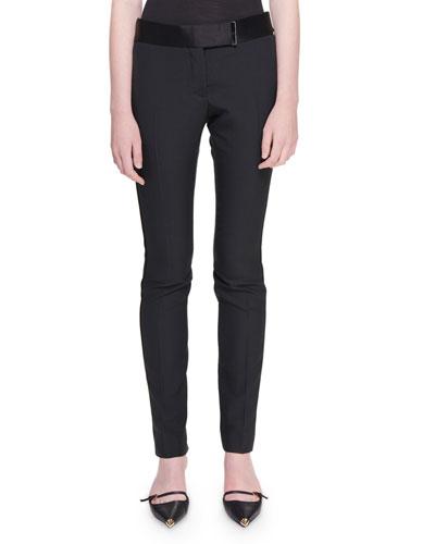 Slim-Leg Ankle Tux-Striped Pants