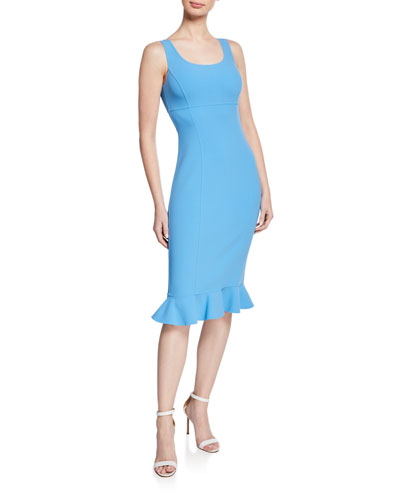 Ruffle-Hem Wool Crepe Sheath Dress
