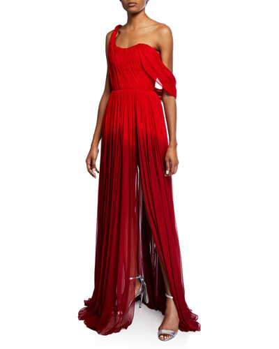 One-Shoulder Dip-Dye Gown