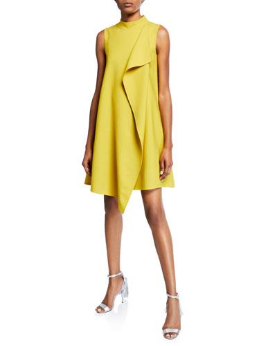 Mock-Neck Draped-Front Dress
