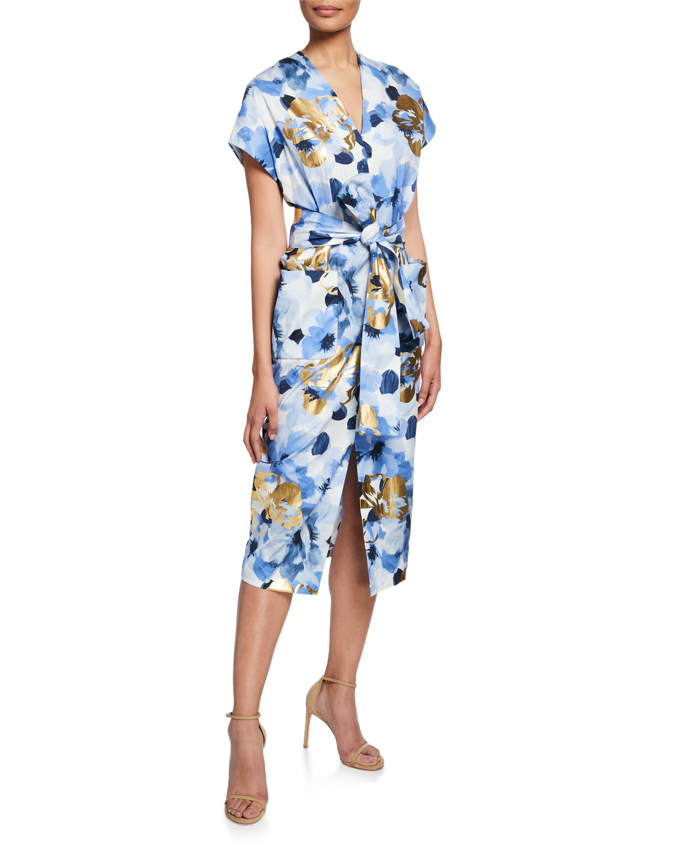 Belted V-Neck Floral Dress with Pockets