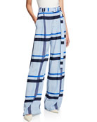 Lela Rose Wide-Leg Belted Graphic Stripe Trousers