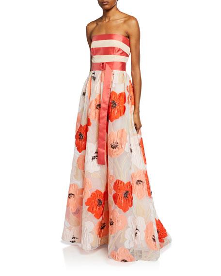 Lela Rose Strapless Floral Brocade Full-Skirt Gown