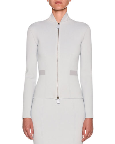 Funnel-Neck Dual-Zip Crepe Jersey Jacket