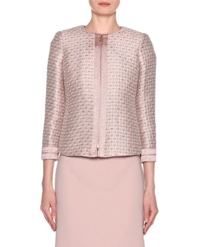 3/4-Sleeve Metallic-Jacquard Zip Front Jacket