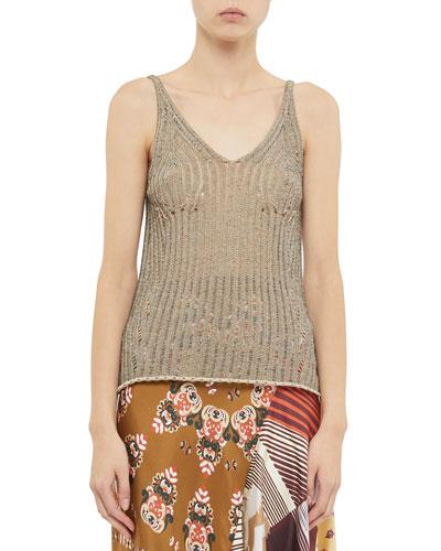 Open-Knit Sleeveless V-Neck Sweater