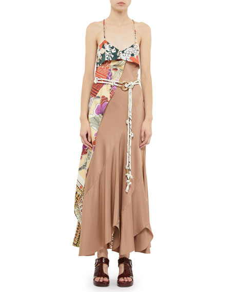 Chloe Asymmetric Silk Maxi Dress
