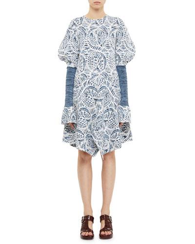 Puff-Sleeve Ceramique Jacquard Knit Dress