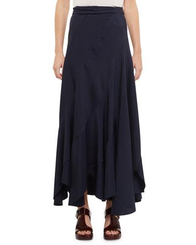 Fluid Twill Bias Cut Maxi Skirt