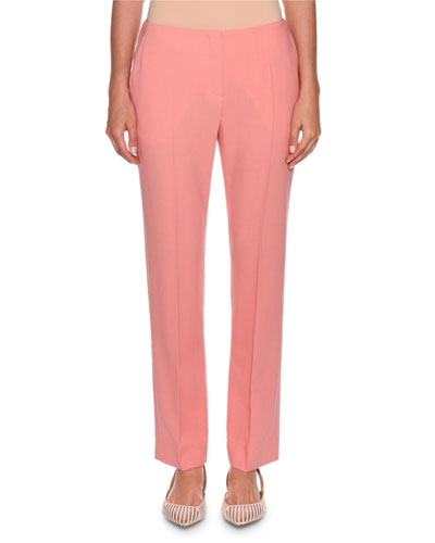 Slim-Leg Stretch Wool Pants, Pink