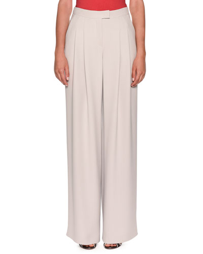 a47316d321 Quick Look. Giorgio Armani · Pleated Wide-Leg Crepe Pants