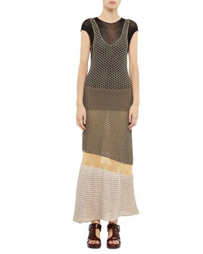 Short-Sleeve Tiered Mesh Maxi Dress