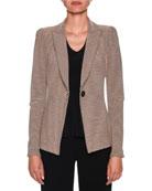 Giorgio Armani Bi-Color Ottoman-Ribbed Jersey Blazer Jacket