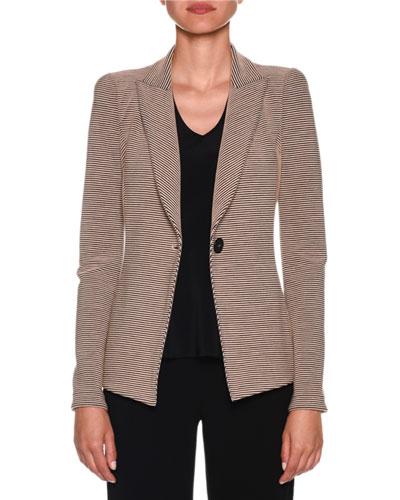 Bi-Color Ottoman-Ribbed Jersey Blazer Jacket
