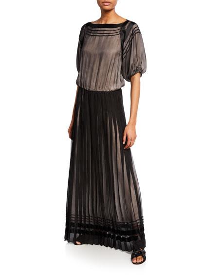 Giorgio Armani Pleated Chiffon Half-Sleeve Gown