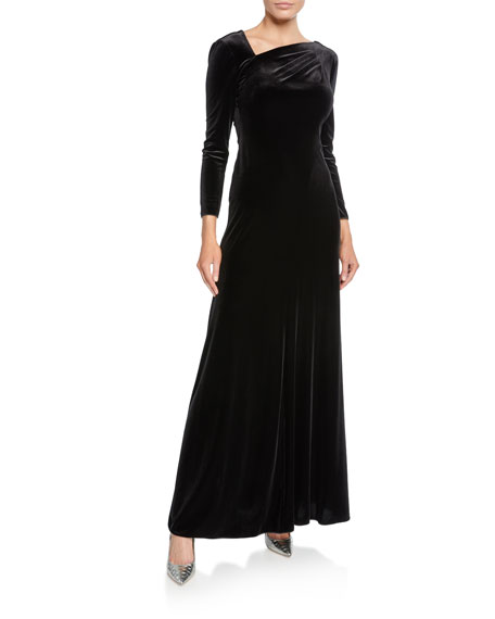 Giorgio Armani Velvet Asymmetric-Neck Long-Sleeve Gown