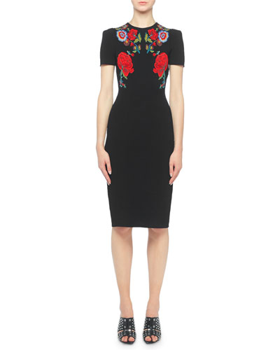 Puffed Short-Sleeve Placement Jacquard Sheath Dress