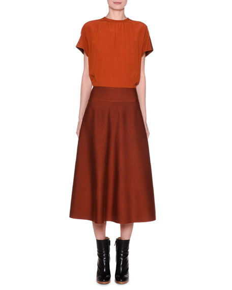 Agnona Silk Cap-Sleeve Blouson Midi Dress