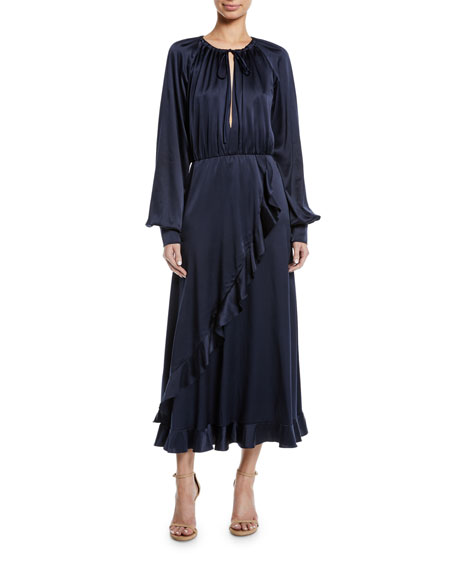 Monique Lhuillier Blouson-Sleeve Cascading Ruffle Dress
