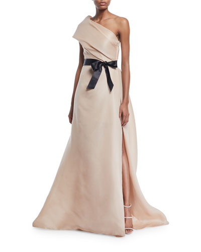Draped One-Shoulder Gown with Thigh Slit