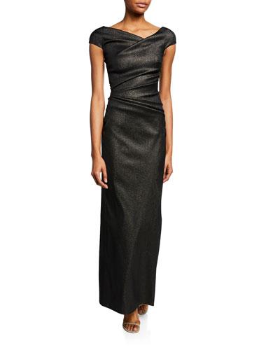 Roya Draped-Waist Asymmetric Gown