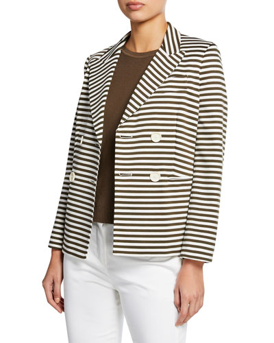 Stallo Horizontal-Striped Double-Breasted Jacket