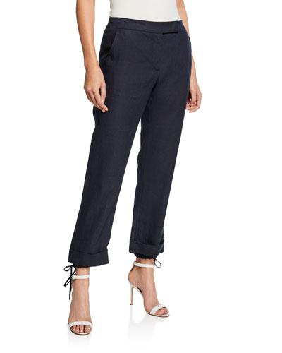 Denver Linen Zip Front Trousers