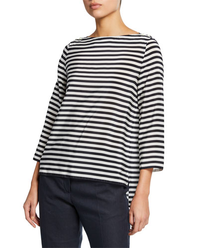 Semele 3/4-Sleeve Striped Jersey Top