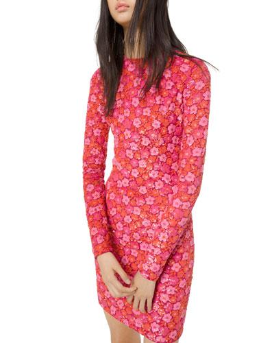 Long-Sleeve Floral Sequin Embellished Dress