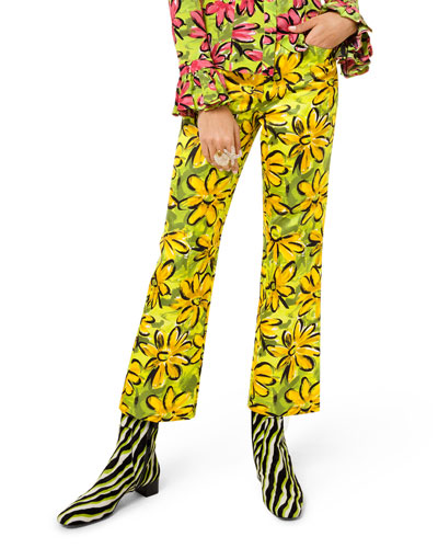 Daisy Floral-Print Sateen Trousers