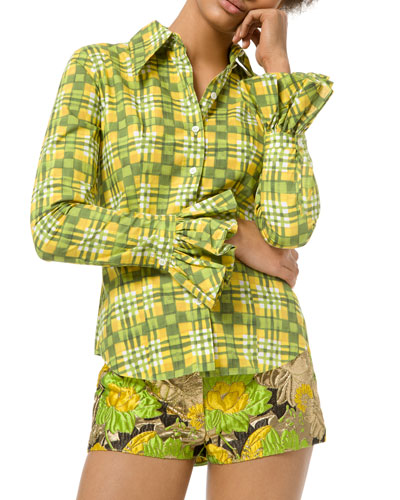 Painterly Madras Poplin Crushed Bell-Sleeve Shirt