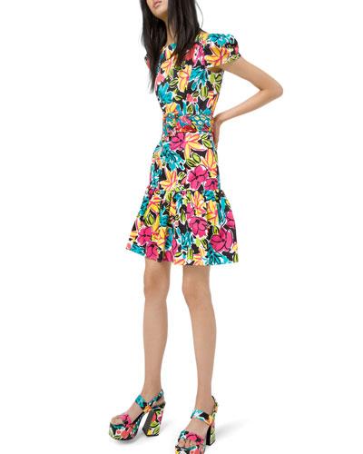 Ruffled Modern Floral Sateen Dress