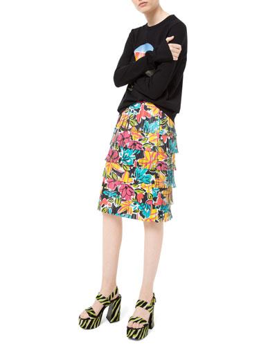 Modern Floral Fringe Leather Skirt