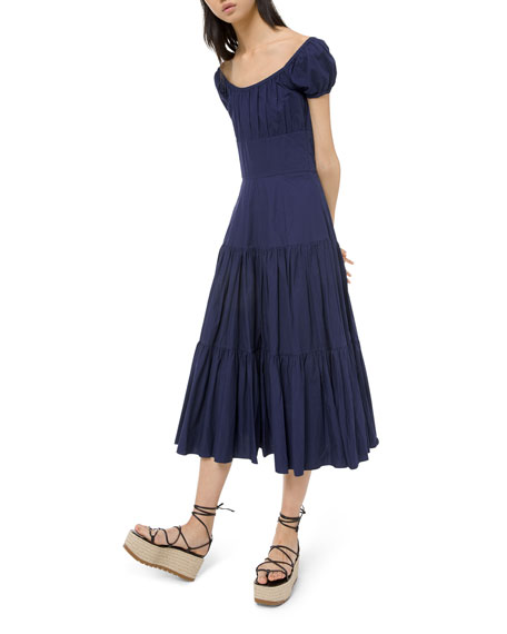 Michael Kors Collection Crushed Cotton Cap-Sleeve Tiered Dress