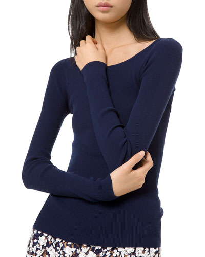 Stretch Jersey Open Neck Ribbed Top