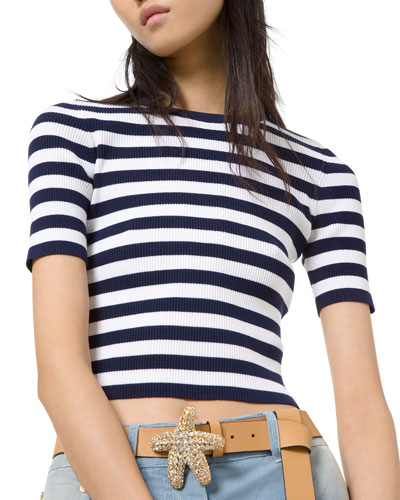 Breton-Striped Ribbed Stretch Jersey Tee