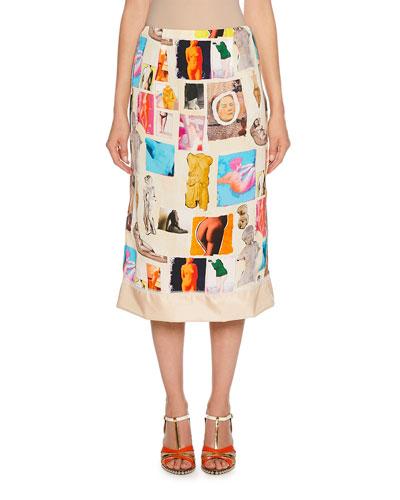 Art Collage Print Midi Skirt
