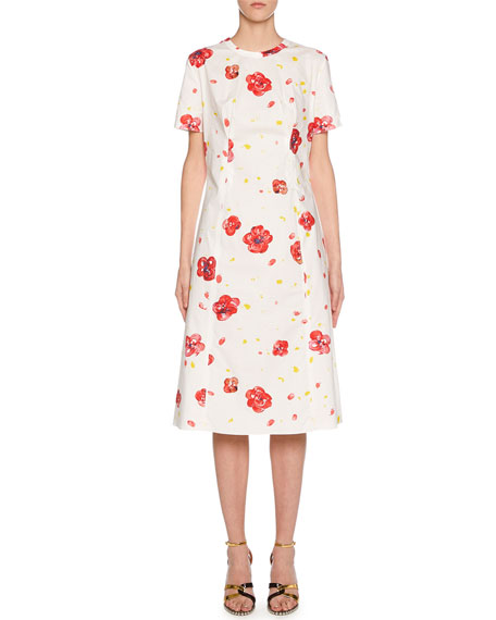 Marni Short-Sleeve Painted Flower Print Dress