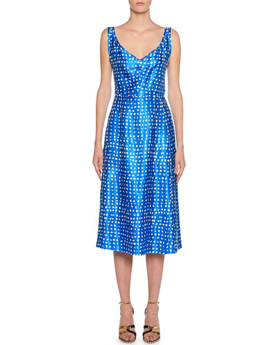 V-Neck Polka-Dot Dress